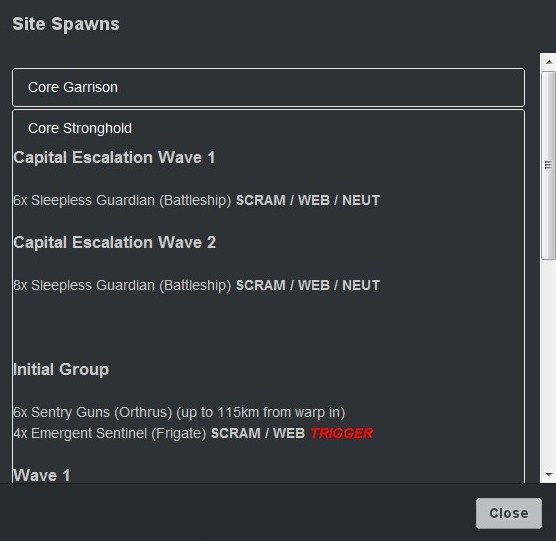 Known site types pop up a spawn list appropriate to the system class.